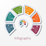 Semicircle diagram with six multicolored elements Stock Images