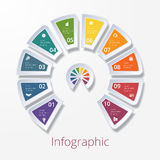 Semicircle diagram with ten multicolored elements Royalty Free Stock Image
