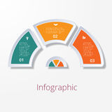 Semicircle diagram with three multicolored elements Stock Photo