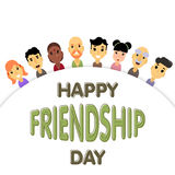 The semicircle of friends of different genders and nationalities as a symbol of International Friendship day. Stock Image