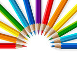 Semicircle of rainbow colored pencils with Stock Image