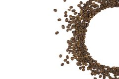 Semicircle of roasted coffee beans. background with space for text on the left stock photos