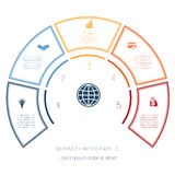 Semicircle template from infographic five number options Stock Photos