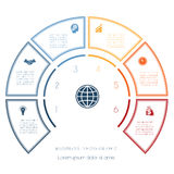 Semicircle template from infographic six number options Royalty Free Stock Photo