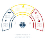 Semicircle template from infographic three number options Stock Photos