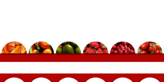 Semicircles full of fruits and placed on a red ribbon. Collection of six semicircles full of fresh fruits: orange pieces, tangerines, limes, strawberries Stock Image