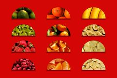 Semicircles full of fruity textures. Fruity textures: limes, mandarins, bananas, kiwi, tangerines, strawberries, raspberries, pineapple pieces, chopped orange royalty free stock photography