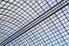 Semicircular glass roof on a metal frame as a background or a backdrop Stock Images