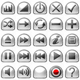 Semicircular grey Control panel icons or buttons Royalty Free Stock Photography