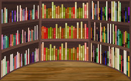 Semicircular library with book shelves and wooden floor Stock Photos