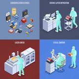 Semicondoctor Production Concept Icons Set stock photography