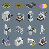 Chip Production Icon Set. Semiconductor chip production isometric icons collection with isolated hi-tech facilities and supplies with human characters vector stock illustration