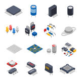 Semiconductor Components Icon Set. Semiconductor electronic components isometric icons set with circuit board elements microprocessors electrolytic capacitors Stock Photography