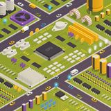 Semiconductor Electronic Components Isometric Composition. Semiconductor electronic components assembled on printed circuit board as city buildings streets royalty free illustration