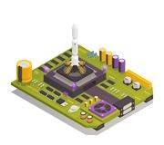 Semiconductor Electronic Components Isometric Composition. Semiconductor electronic components assembled on printed circuit board as space rocket launching stock illustration