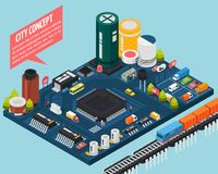 Semiconductor Electronic Components Isometric City Concept Royalty Free Stock Photo