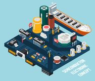 Semiconductor Electronic Components Seaport. Colored semiconductor electronic components isometric seaport composition with floats by the sea vector illustration Stock Images