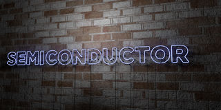 SEMICONDUCTOR - Glowing Neon Sign on stonework wall - 3D rendered royalty free stock illustration. Can be used for online banner ads and direct mailers Royalty Free Stock Photo