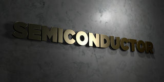 Semiconductor - Gold text on black background - 3D rendered royalty free stock picture. This image can be used for an online website banner ad or a print Stock Image