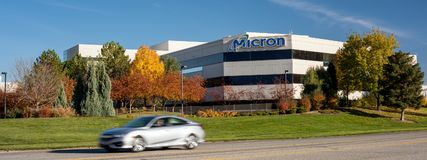 Semiconductor manufacturing company building front. Boise, ID, USA - October 27, 2017: Micron Technology Boise . Micron is a leading company in semiconductor Royalty Free Stock Photos