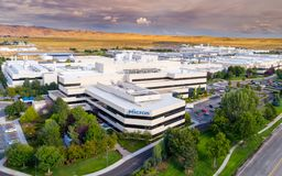 Semiconductor manufacturing facility Micron aerial view Royalty Free Stock Photo
