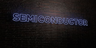 SEMICONDUCTOR -Realistic Neon Sign on Brick Wall background - 3D rendered royalty free stock image. Can be used for online banner ads and direct mailers Royalty Free Stock Images