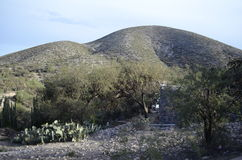 Semidesert hills. Semiarid hill in a small mountain on the outskirts of San Luis Potosi, Mexico Stock Image