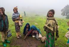 Semien山的,埃塞俄比亚孩子 库存图片