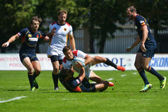 Semifinal bowl match Spain vs Germany in Rugby 7 Grand Prix Series in Moscow Stock Photos