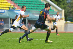Semifinal bowl match Spain vs Germany in Rugby 7 Grand Prix Series in Moscow Stock Images