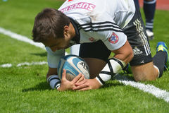 Semifinal cup match Scotland vs Portugal in Rugby 7 Grand Prix Series in Moscow Royalty Free Stock Image