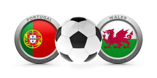 Semifinal Euro 2016 - Portugal vs. Wales. Emblems - Flags of Portugal and Wales with fotball - isolated on white, represents semifinal Euro 2016, three Stock Photos
