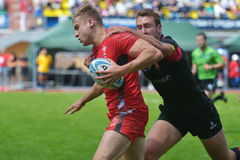 Semifinal plate match Belgium vs Wales in Rugby 7 Grand Prix Series in Moscow Royalty Free Stock Photo