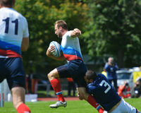 Semifinal plate match France vs Russia in Rugby 7 Grand Prix Series in Moscow Stock Images
