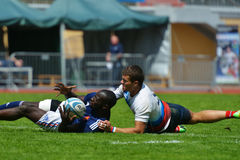 Semifinal plate match France vs Russia in Rugby 7 Grand Prix Series in Moscow Royalty Free Stock Photo