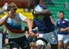 Semifinal plate match France vs Russia in Rugby 7 Grand Prix Series in Moscow Royalty Free Stock Image