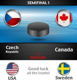 Semifinal of the world championship hockey background with black puck Stock Photography