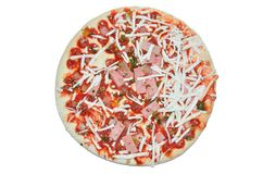 Semifinished pizza with cheese and ham. Semifinished pizza with cheese, ham and tomato paste on white background Stock Photos