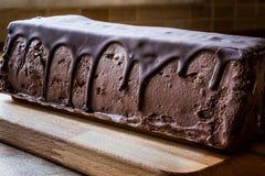 Semifreddo Cake - ice cream with chocolate sauce. semi-frozen dessert Royalty Free Stock Image