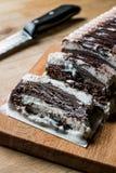 Semifreddo Cake - ice cream with chocolate and vanilla. semi-frozen dessert Royalty Free Stock Images