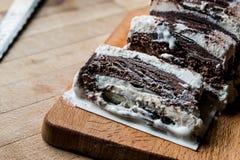 Semifreddo Cake - ice cream with chocolate and vanilla. semi-frozen dessert Stock Photos