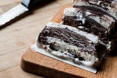 Semifreddo Cake - ice cream with chocolate and vanilla. semi-frozen dessert Royalty Free Stock Photos