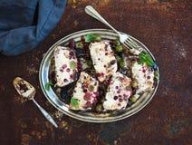 Semifreddo or italian cheese ice-cream dessert with garden berries and mint Stock Image