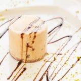 Semifreddo with walnut and chocolate sause Royalty Free Stock Photos