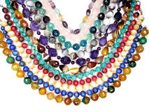 Semigem-Halskette mit hellem Kristallschmuck Stockfoto