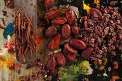 Semillas crudas del cacao, chocolate destrozado y granos de cacao Fotos de archivo libres de regalías