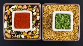 Semillas crudas, granos y especias, como la pimienta, el perejil, el mijo, las habas grinded y las lentejas perfectos para la diet imágenes de archivo libres de regalías