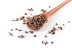 Semillas de cacao en una cuchara Fotografía de archivo libre de regalías