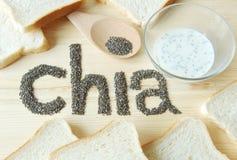 Semillas de Chia con pan de la tostada Fotografía de archivo