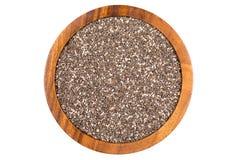 Semillas de Chia en cuenco de madera foto de archivo libre de regalías